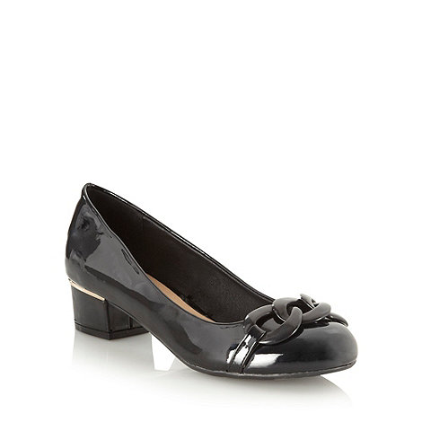 The Collection - Black patent mid heel chain trimmed court shoes