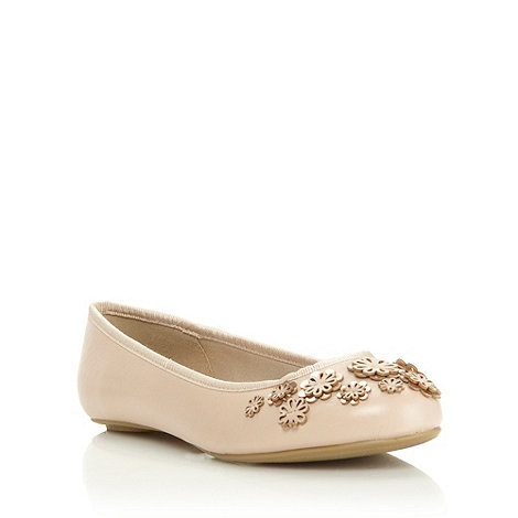 Red Herring - Nude leatherette floral embellished ballet flat shoes