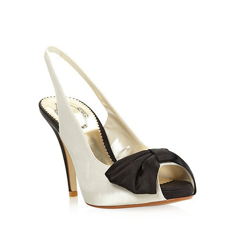 Debut - Cream satin slingback high heel with bow detail