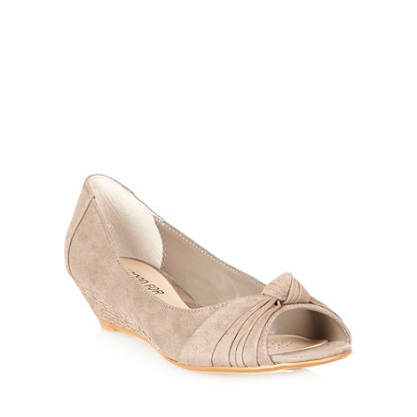 Good for the Sole - Taupe wide fit knotted peep toe mid wedge court shoes