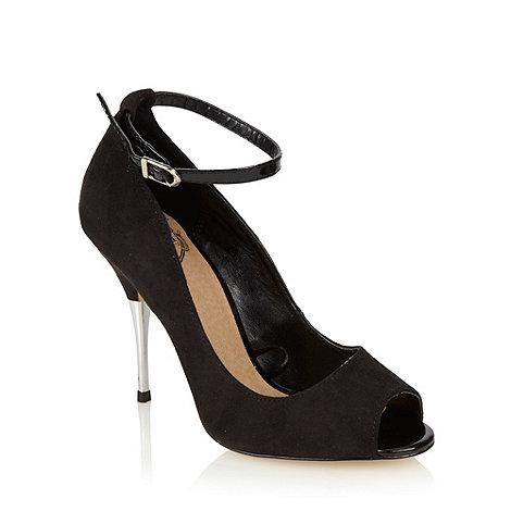 Red Herring - Black suedette metal high heel peep toe court shoe