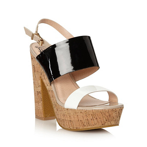 Red Herring - Black patent strap high sandals