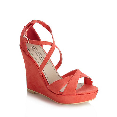Red Herring - Coral cross over strap high wedge sandals