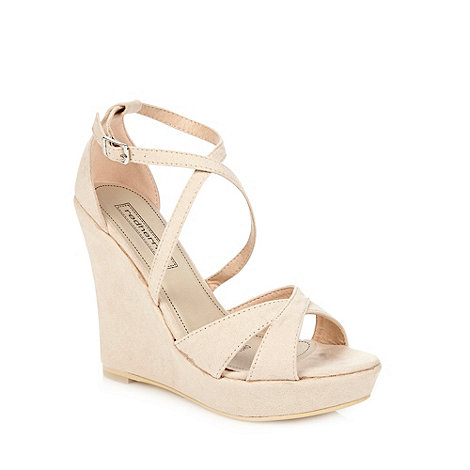Red Herring - Natural cross over strap high wedge sandals