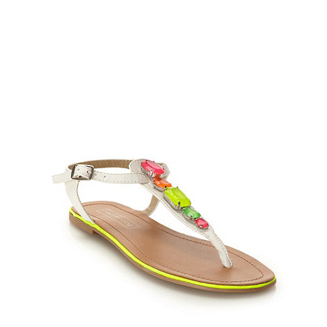 Red Herring - White colourful jewel sandals