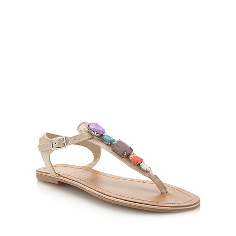 Red Herring - Natural jewel toe post sandals