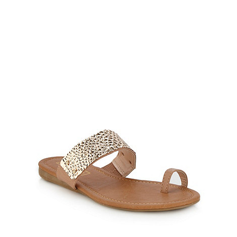 Red Herring - Tan hammered strap flip flops