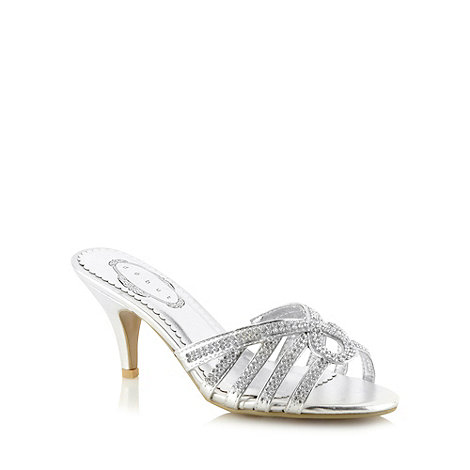 Debut - Silver diamante strap mid mule sandals