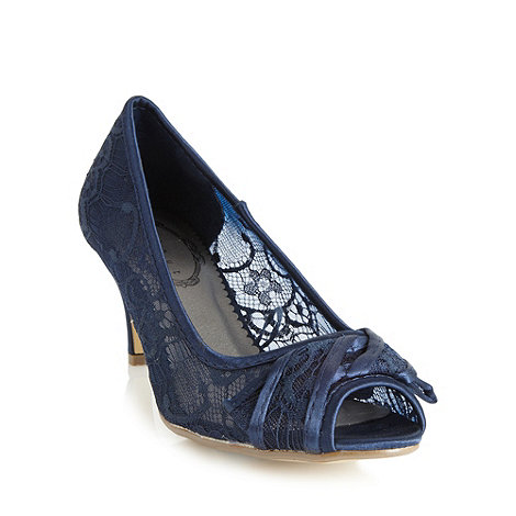 Debut - Navy lace mid heel court shoes