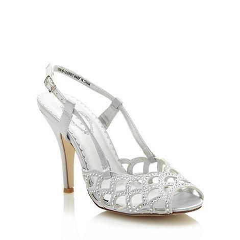Debut - Silver high heeled diamante satin sandals