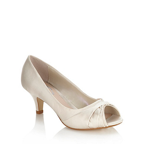 Debut - Ivory satin peep toe mid court shoes