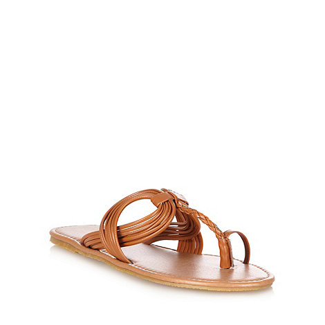 Red Herring - Tan twist plait sandals