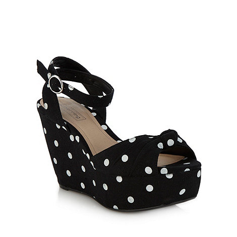 Red Herring - Black spotted high wedge sandals