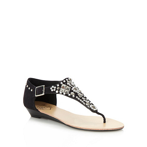 Red Herring - Black jewelled t-bar sandals