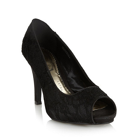 Debut - Black lace high court shoes