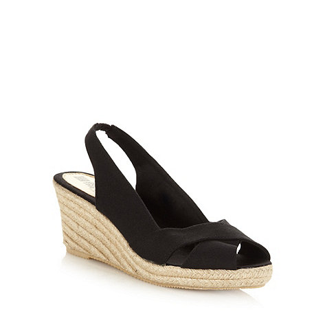 Good for the Sole - Black wide fit rope trimmed mid heeled slingback shoes