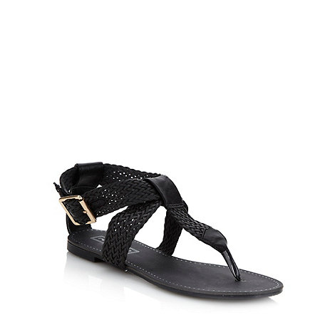 Red Herring - Black flat woven strapped sandals