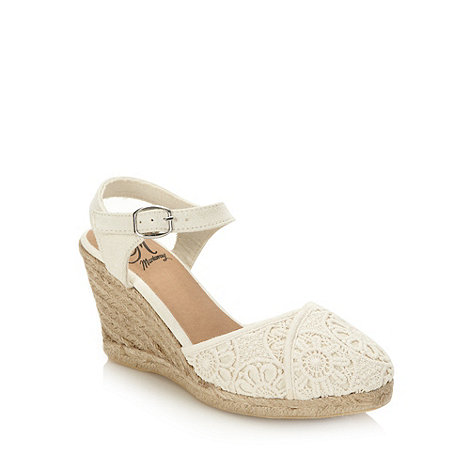 Mantaray - Cream crochet high wedge sandals