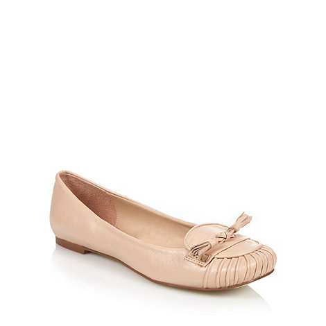 RJR.John Rocha - Beige leather look ruched square toe pumps