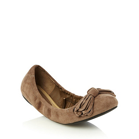 RJR.John Rocha - Dark tan suede flexi bow pumps