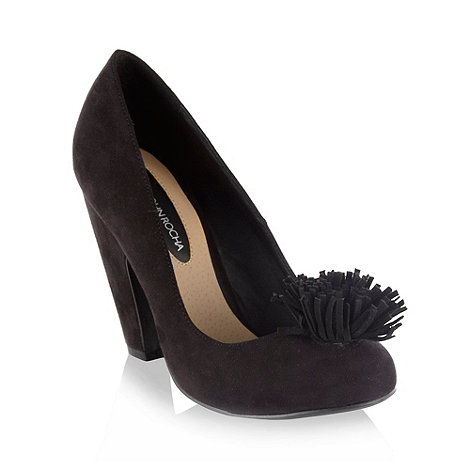 RJR.John Rocha - Black suedette high heel court shoes with tassel trim