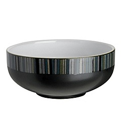Denby - Black glazed 'Jet' striped cereal bowl