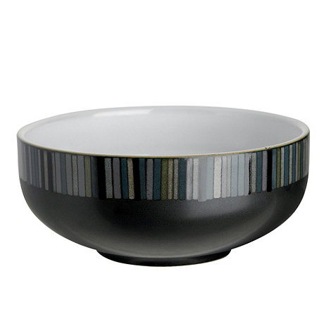 Denby - Black glazed +Jet+ striped cereal bowl