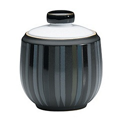 Denby - Black glazed striped 'Jet' sugar bowl
