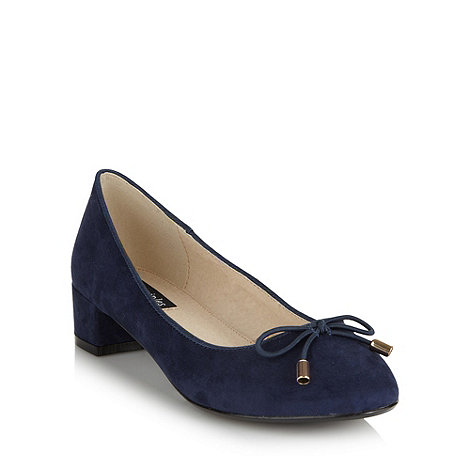 Principles by Ben de Lisi - Designer navy velvet block heel pumps