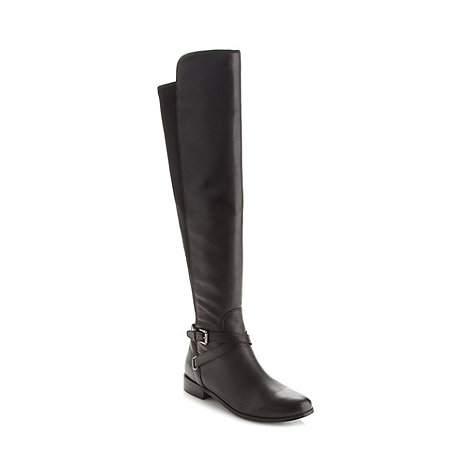 Betty Jackson.Black - Designer black leather over the knee boots