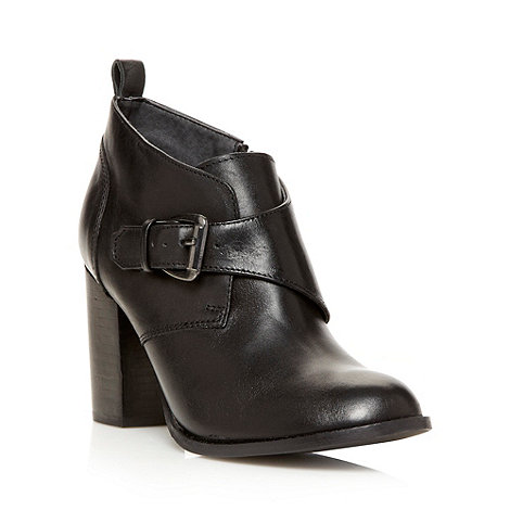 Betty Jackson.Black - Designer black leather buckle detail high ankle boots