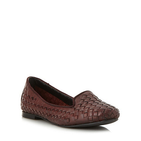 Betty Jackson.Black - Designer dark red woven slipper pumps