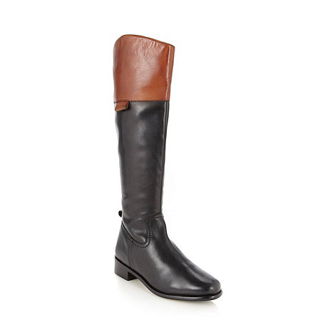 J by Jasper Conran - Designer black leather contrast cuff knee length leg boots