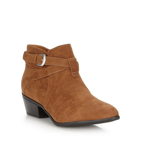 H! by Henry Holland - Designer tan buckle trim ankle boots