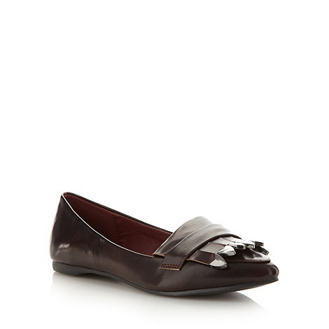 H! by Henry Holland - Designer wine metallic tip fringing pumps