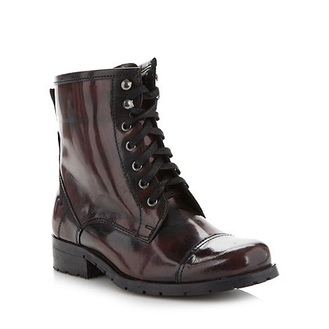 H! by Henry Holland - Designer wine patent lace up flat ankle boots