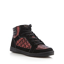 H! by Henry Holland - Designer wine lace up high top trainers