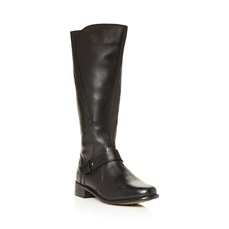 RJR.John Rocha - Designer black leather strap knee length low heel boots