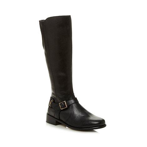 rjr rocha designer black leather buckle knee high