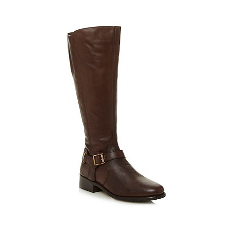 RJR.John Rocha - Designer chocolate leather buckle knee high boots