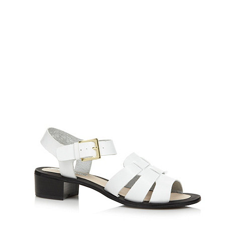 H! by Henry Holland - Designer white mid block heel sandals