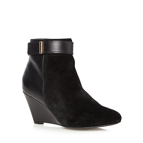 J by Jasper Conran - Designer black suede leather panelled mid wedge ankle boots
