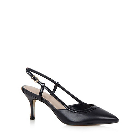 J by Jasper Conran - Designer navy leather slingback court shoes