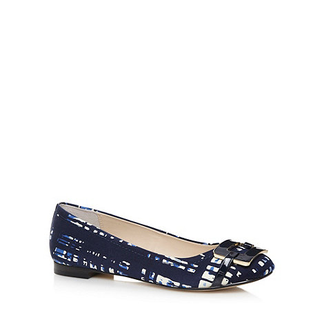 J by Jasper Conran - Designer navy square enamel buckle pumps