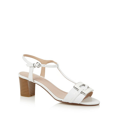 J by Jasper Conran - Designer white enamel buckle mid sandals