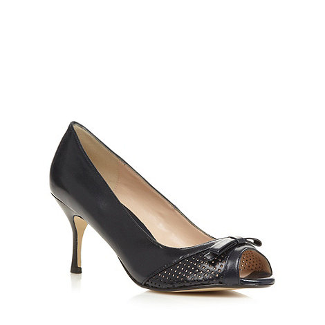 J by Jasper Conran - Designer navy punched peep toe heeled shoe