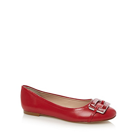 J by Jasper Conran - Designer red enamel square trim leather pumps