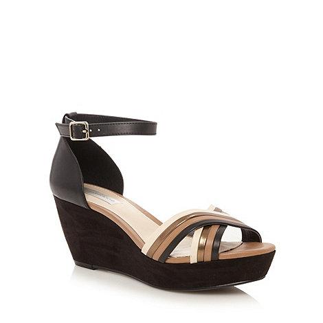 RJR.John Rocha - Designer black multi strap wedge sandals