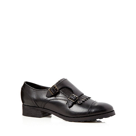 RJR.John Rocha - Designer black leather fringe front shoes