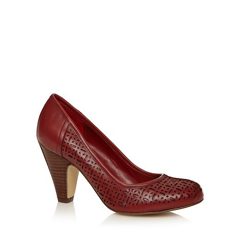 RJR.John Rocha - Designer dark red leather punched high court shoes
